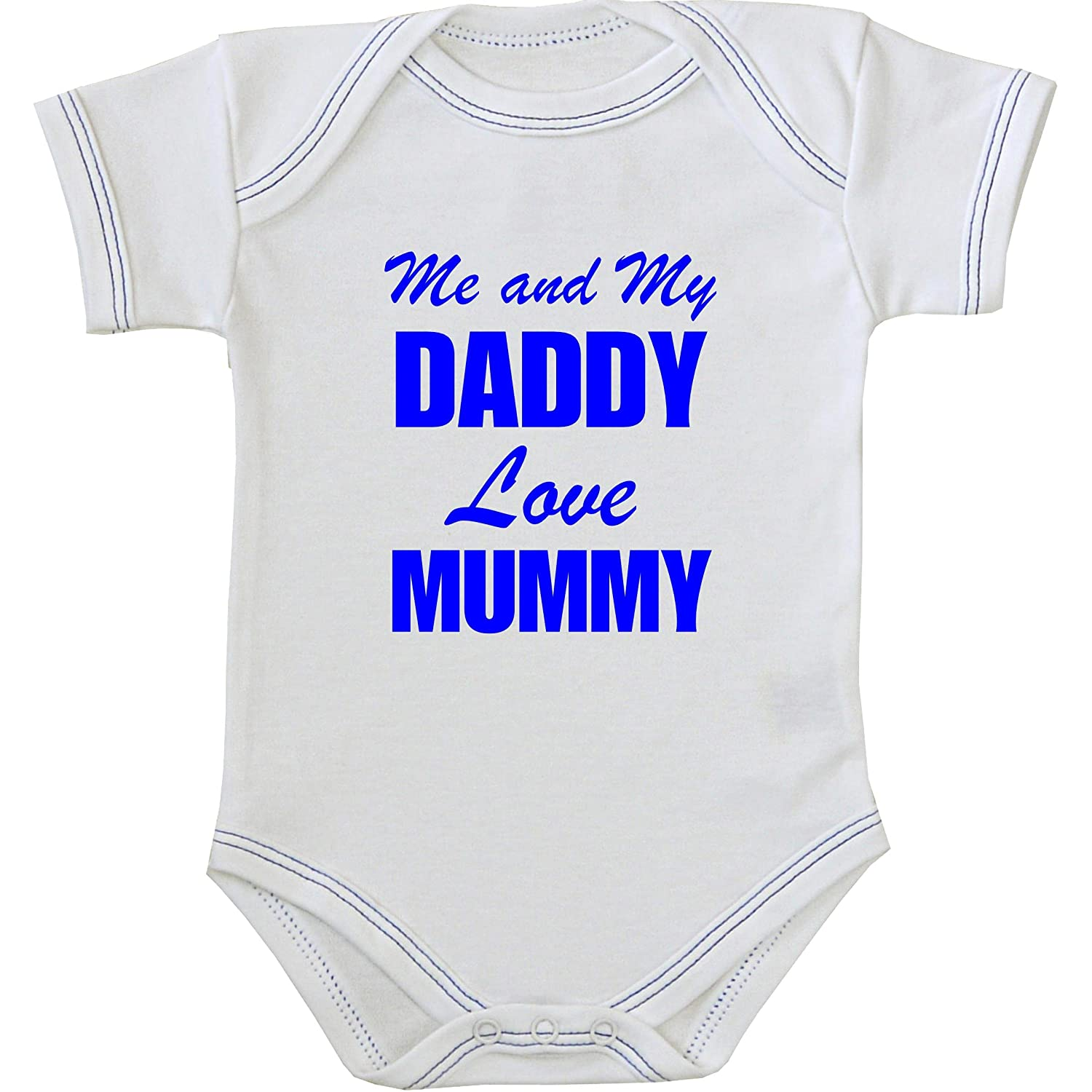 1 'One' Me and my Dad Love Mummy Baby Bodysuit Vest Newborn -12 months in a choice of 9 Colours ROYAL BLUE 0-3 Babyprem MM031DD