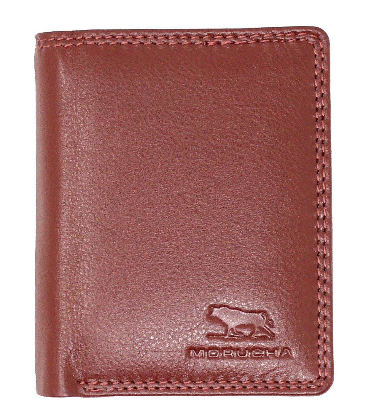 MORUCHA Antique Red Compact Trifold Wallet For Mens | Genuine Soft Nappa Leather RFID Blocking | Zipped Pocket | Designed For Up To 6 Cards, ID, Coins And Cash | Gift Boxed M-45