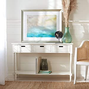 Safavieh Home Collection Landers Distressed White 3-Drawer Console Table CNS5711A