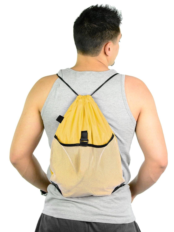 Drawstring Cinch Bag Backpack With Mesh Pocket Wholesale Drawstring Backpacks