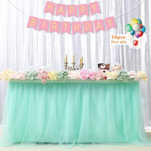 Romantic Tulle Tutu Table Skirt Tableware Wedding Birthday Party Decorations 9ft