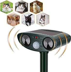 YARDPRO Ultrasonic Cat Repellent Outdoor – Solar Powered Animal Repeller – Non Toxic Dog Repellent, Cat Deterrent Devices, and Deer Repellent