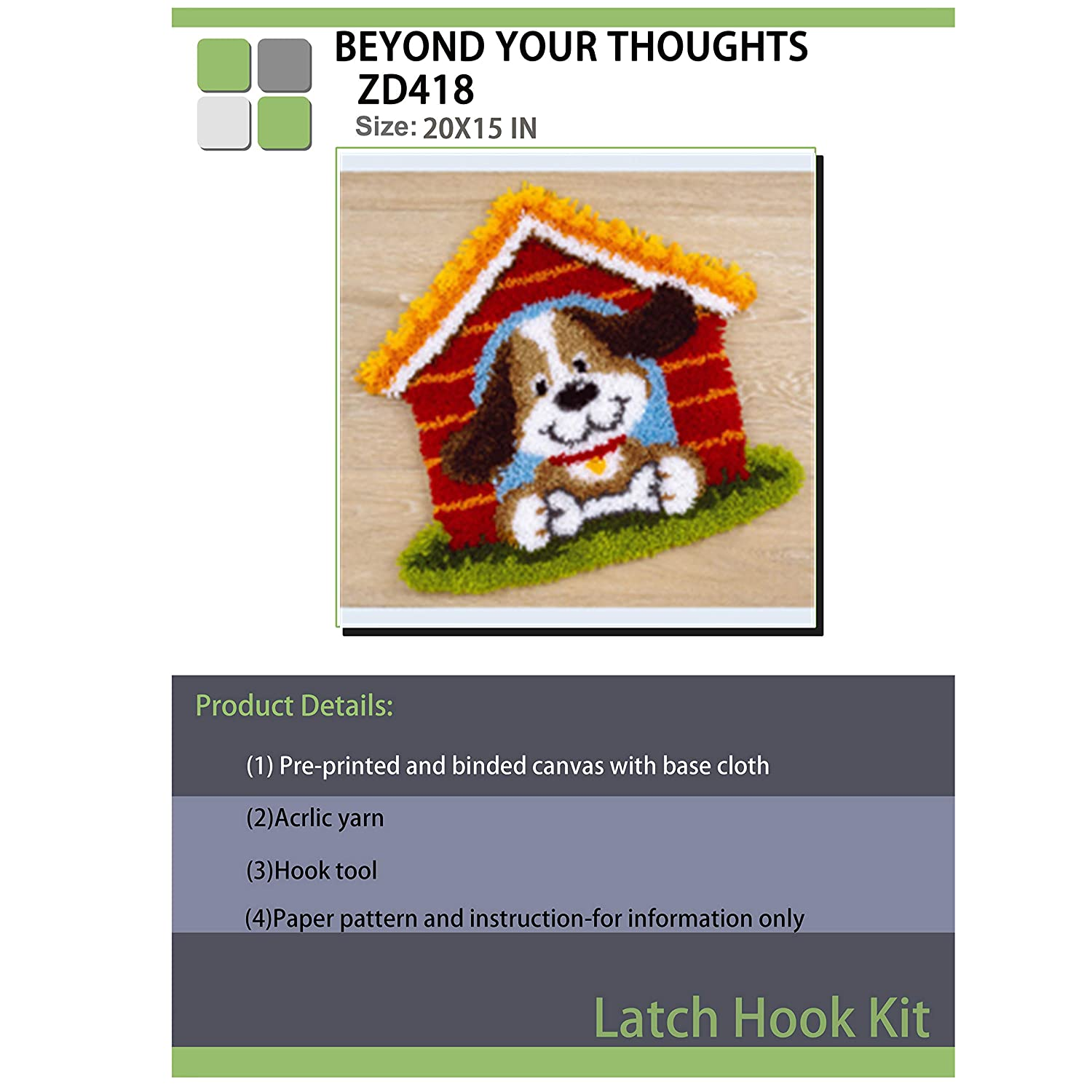 Beyond Your Thoughts15 Model Dog Latch Hook Kit Rug Dog284 20 by 15 Inch 1 Pack