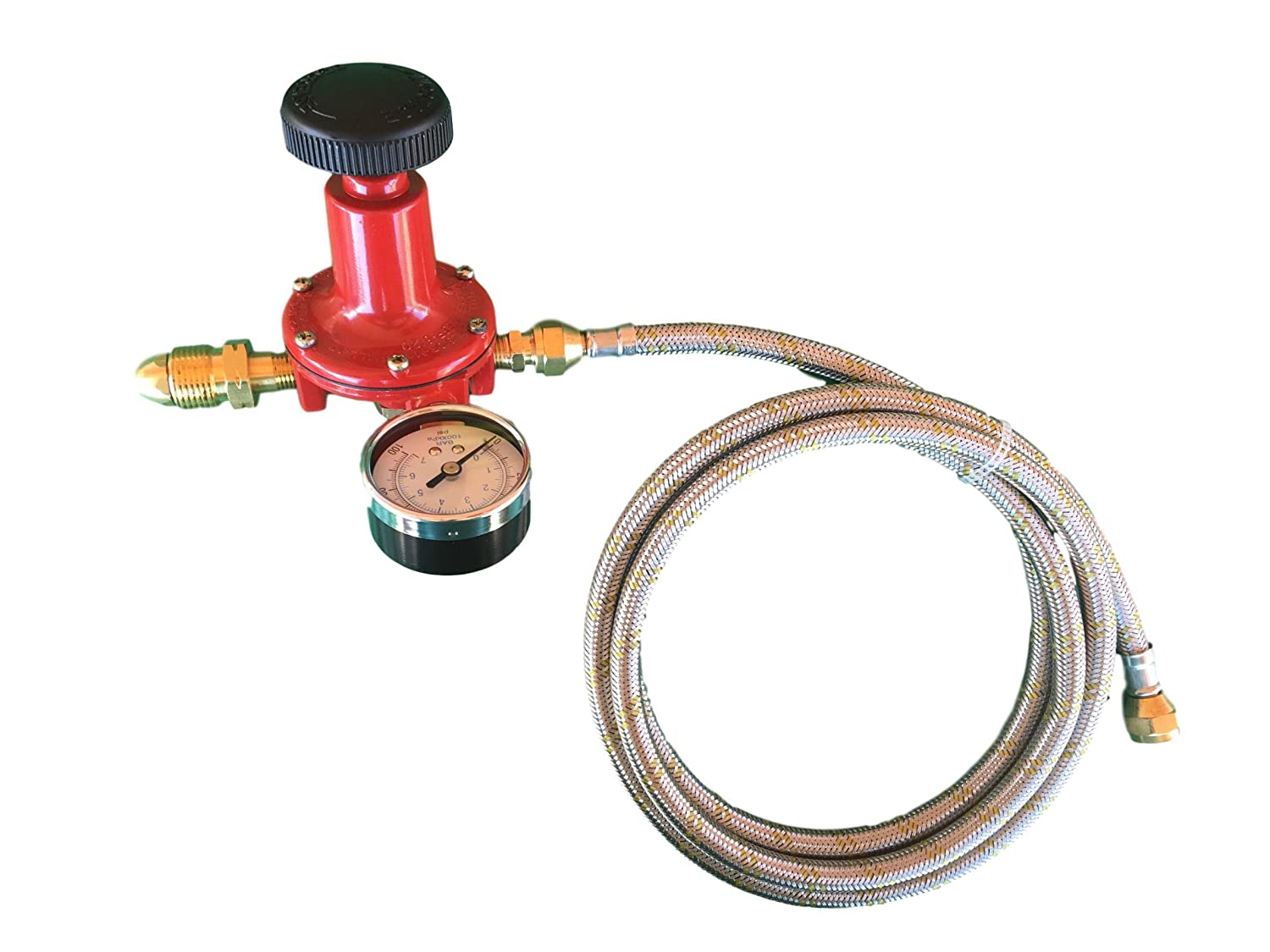 Propane LP Gas Adjustable 0-100psi High Pressure Regulator POL Connector, Gauge and 12ft Stainless Steel Braided Hose