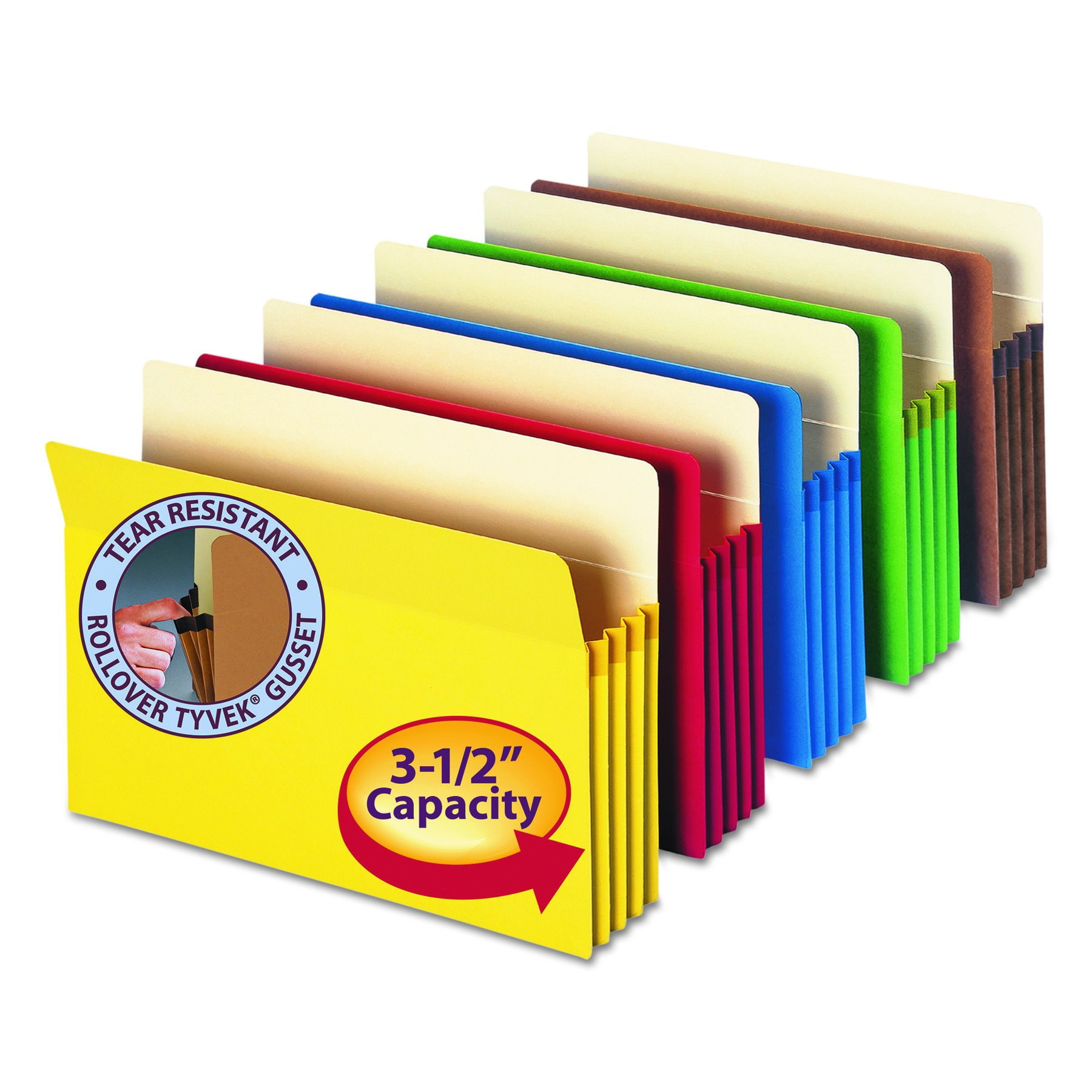 "Smead File Pocket, Straight-Cut Tab, 3-1/2"" Expansion, Letter Size, Assorted Colors, 5 per Pack (73892)"