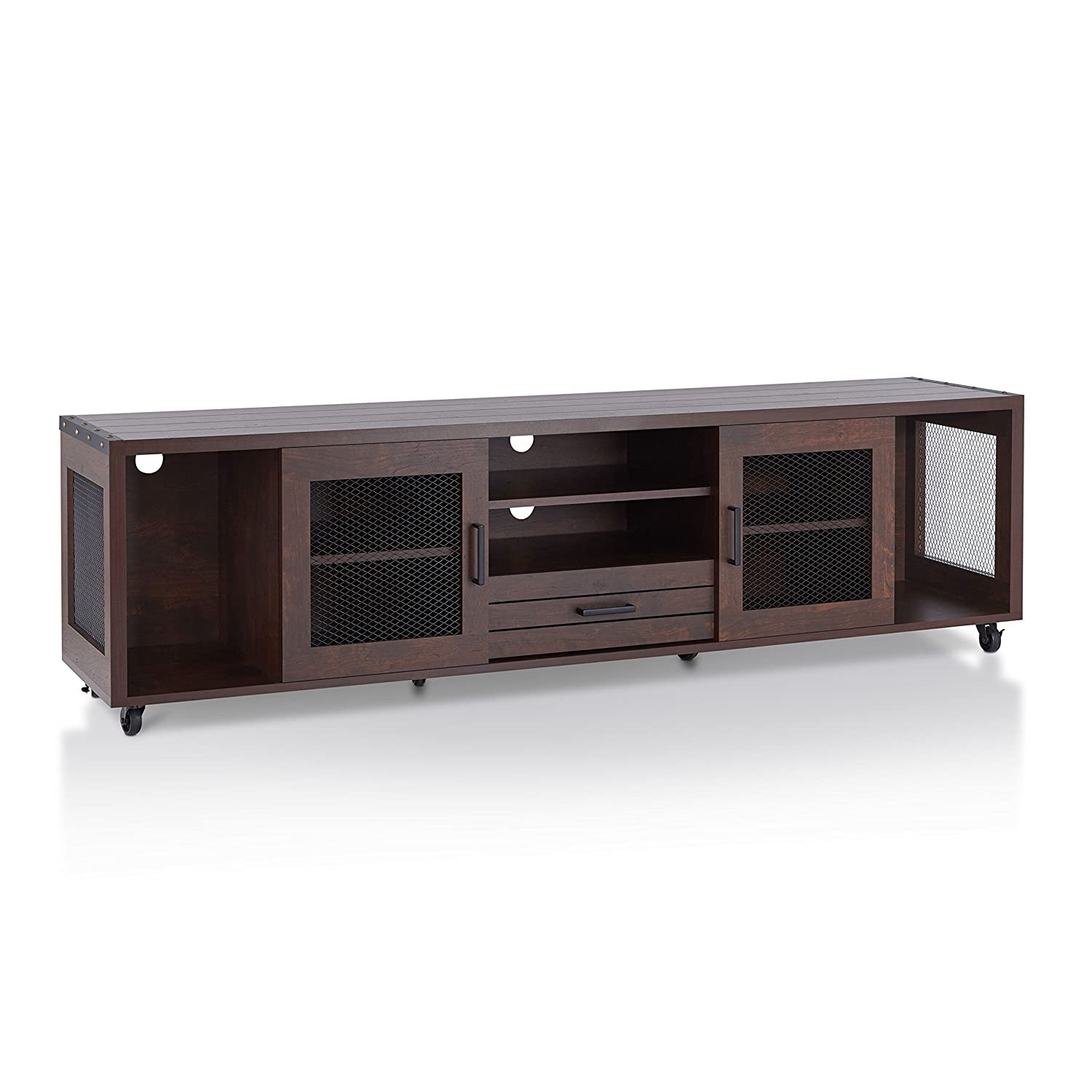ioHOMES Penderton Transitional One Drawer Rectangular TV Stand with 4 Open Shelves, 2-Door Cabinet and Caster Wheels, 70 , Vintage Walnut