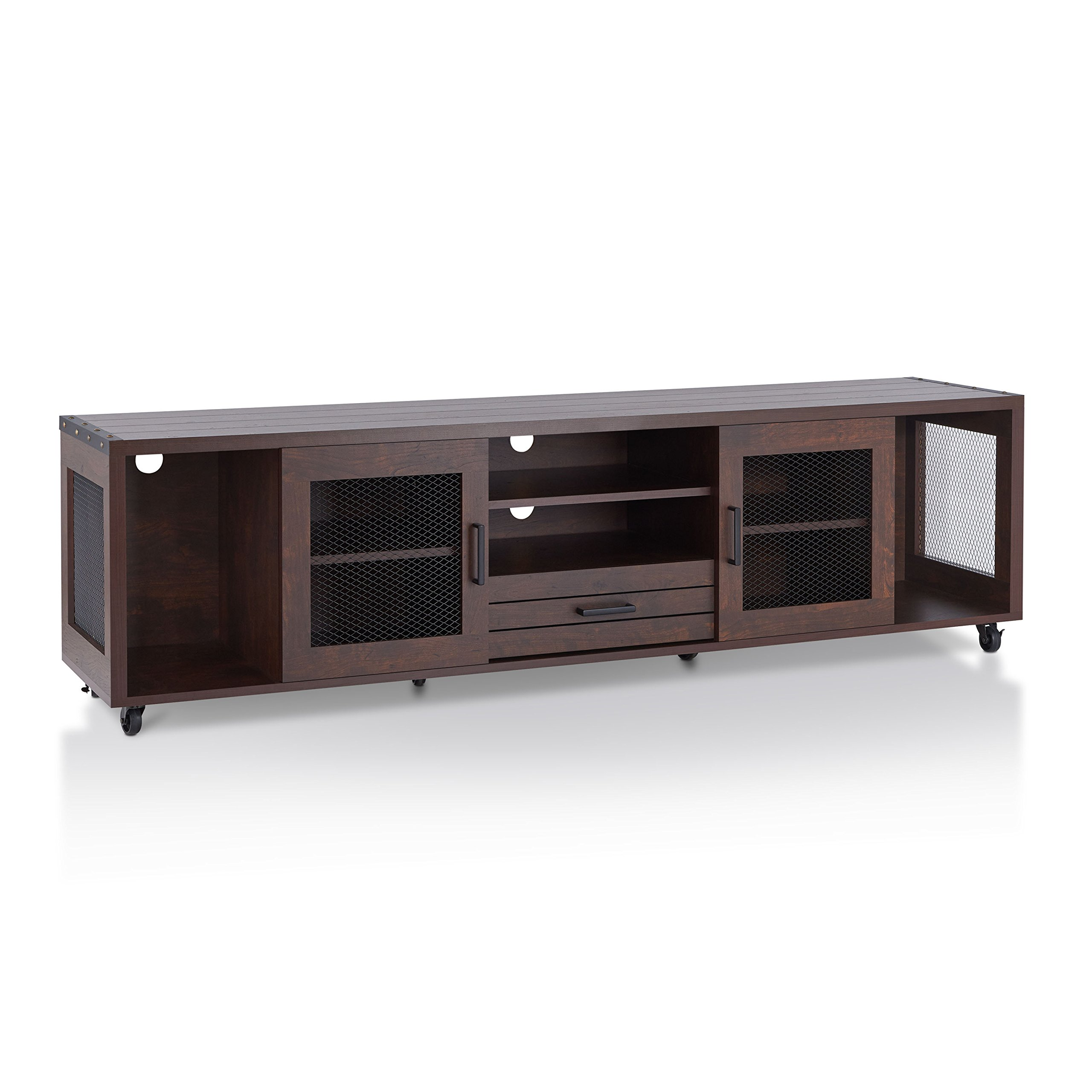 HOMES: Inside + Out Penderton Transitional Style 70'' Media Stand, Vintage Walnut