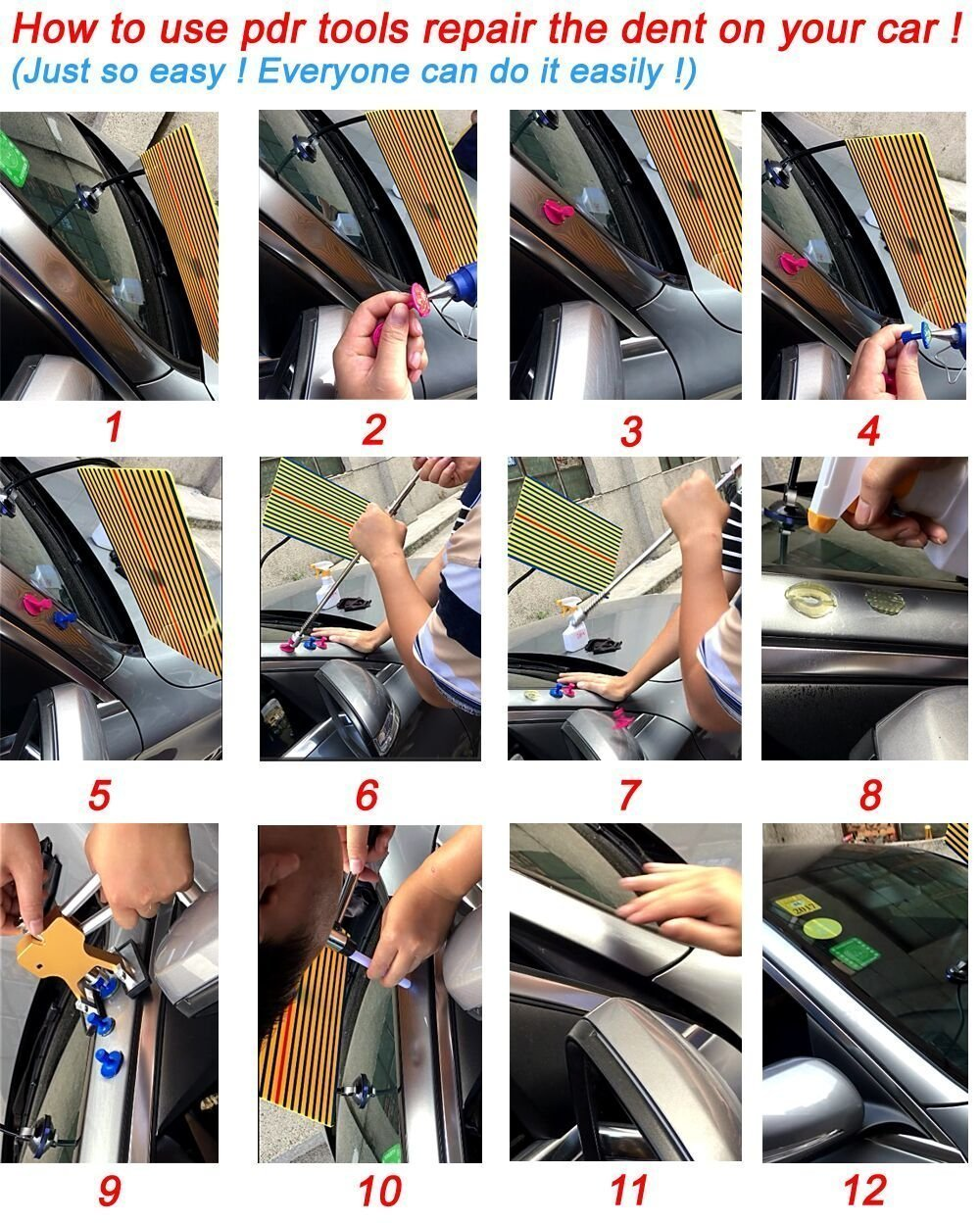 HiYi PDR Auto Body 2 in 1 T-bar Glue Dent Puller with Red T Hand Puller And 24 Pcs different Size Tabs Car Repair Tools Dent Removal Tools by HiYi (Image #9)