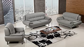 Amazon.com: American Eagle Furniture Highland Complete 3 Piece Living Room  Faux Leather Sofa Set, Gray: Kitchen U0026 Dining