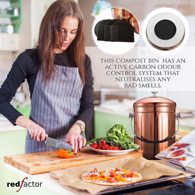 Poubelle Compost Cuisine RED FACTOR Premium Seau Compost Inodore en Acier Inoxydable pour Cuisine INOX Brillant, 5 litres