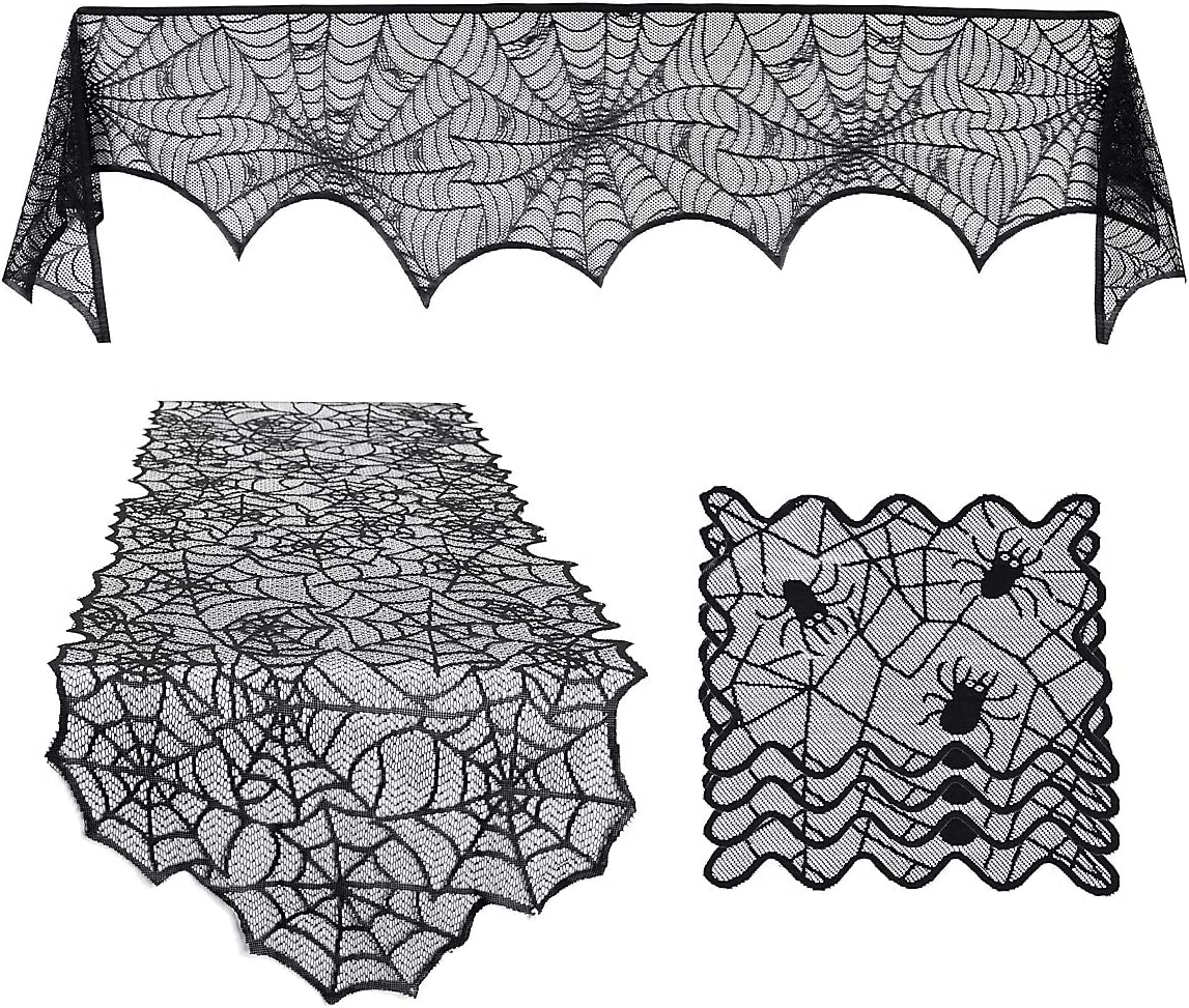 6 Pcs Halloween Decoration Set, Spiderweb Tablecloth Black Lace Table Runner, Fireplace Scarf Cover and Spider Placemat for Home Decorition Halloween Party Supplies