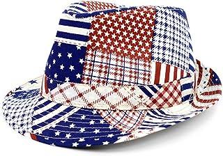 WESTEND Men's Spring/Summer Mixed USA Patterns American Flag Fedora Hat