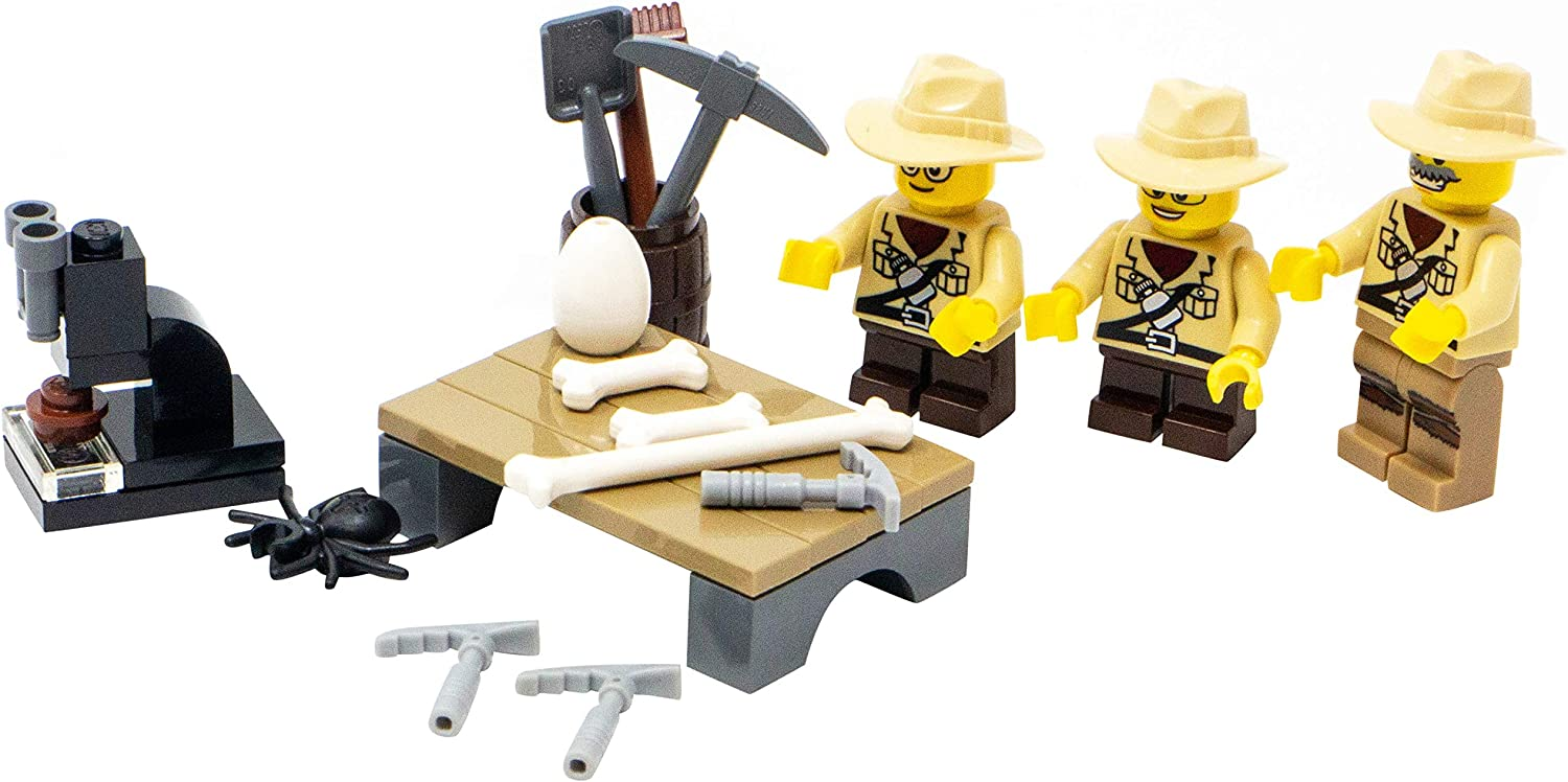 LEGO Paleontologist with Two Student Kids Toy - Custom Fossil Excavation Minifigure