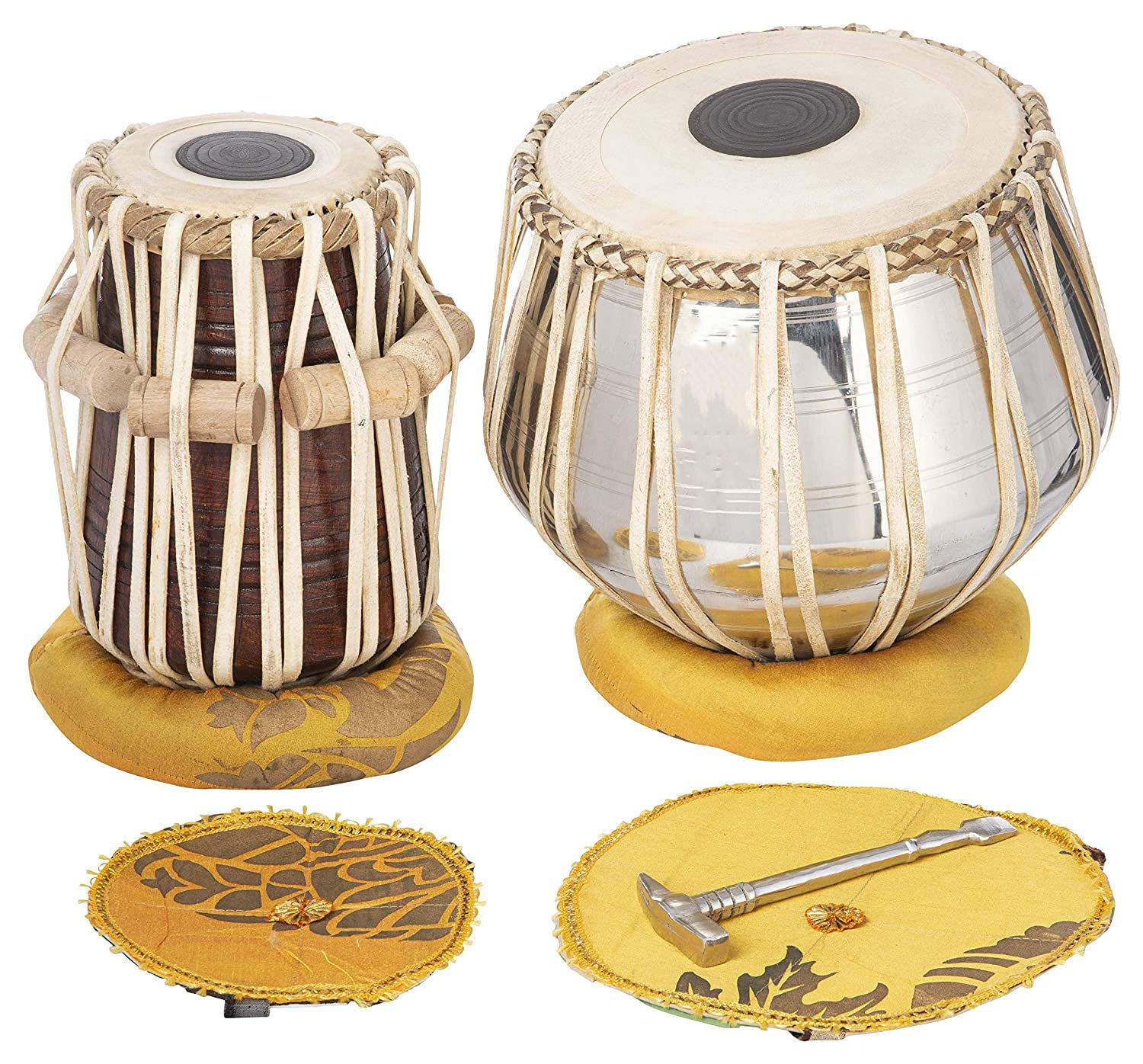 SAMZHE Musical Indian Tabla Set Double Strap Vaddi Musical Instrument Bag Cusion Cover (Metal) (1)