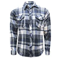onpointlook Mens Button up Check Lined Lumberjack Brushed Fleece Shirt Work TOP Thermal Warm Winter M-3XL