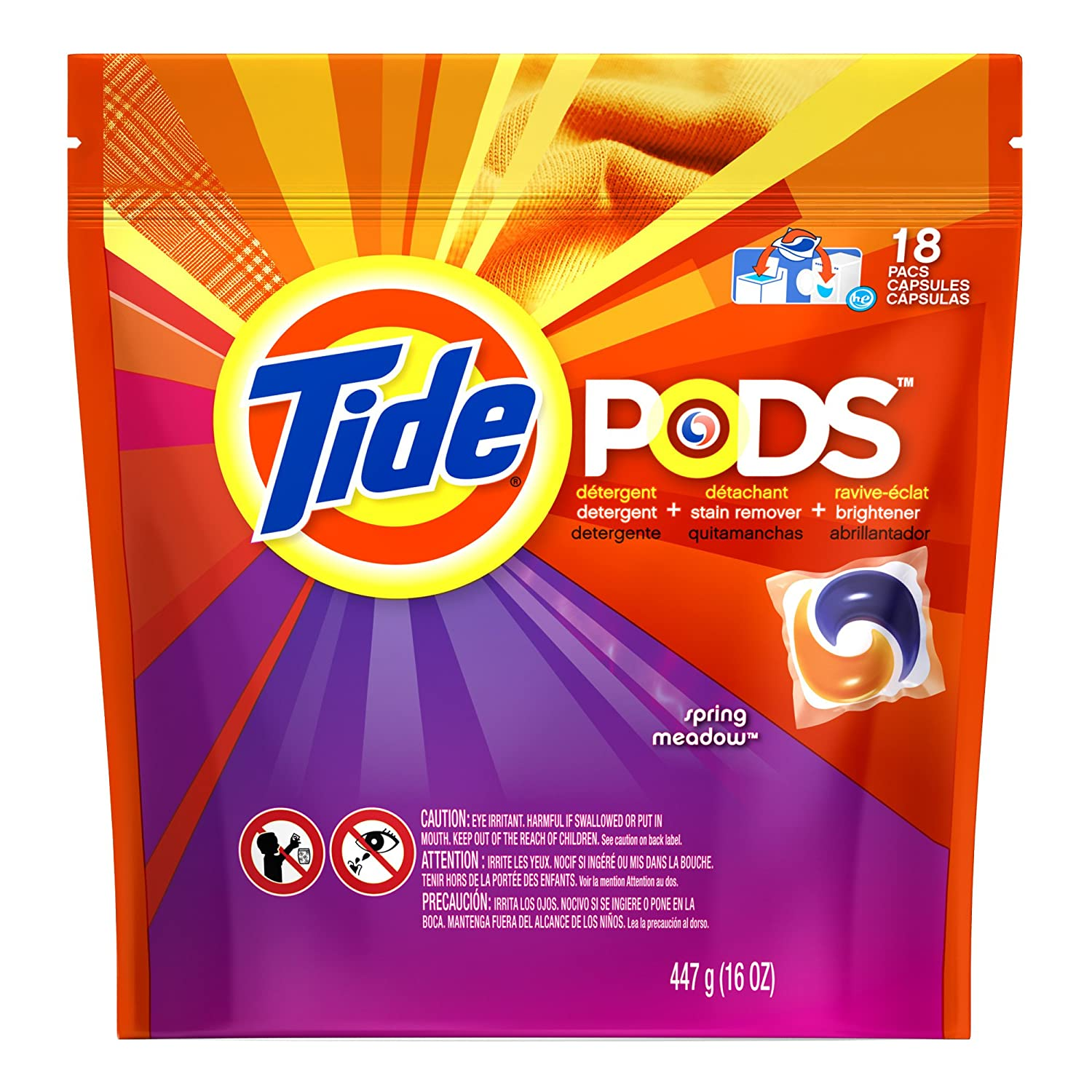 Amazon.com: Tide Pods Laundry Detergent Spring Meadow Scent 18 Count: Health & Personal Care