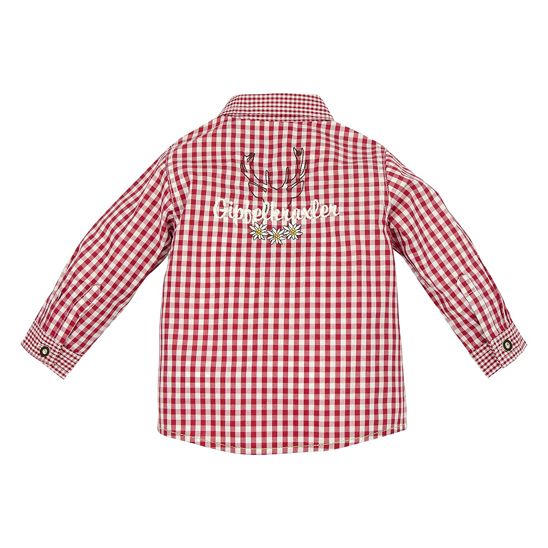 91065 BONDI Baby Jungen Langarm Trachtenhemd Rot//wei/ß Kariert Artnr