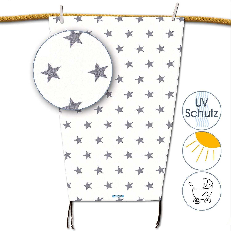 weiss Hochwertiges Sonnensegel Sonnenschutz mit grauen Sternen f/ür den Kinderwagen mit UV-Schutz universell passend