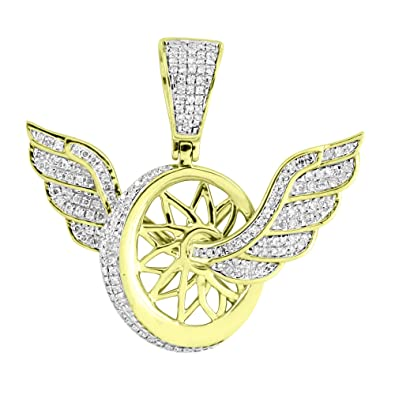 Amazon tire with angel wings pendant 13 real diamonds 10k tire with angel wings pendant 13quot real diamonds 10k yellow gold custom charm aloadofball Choice Image