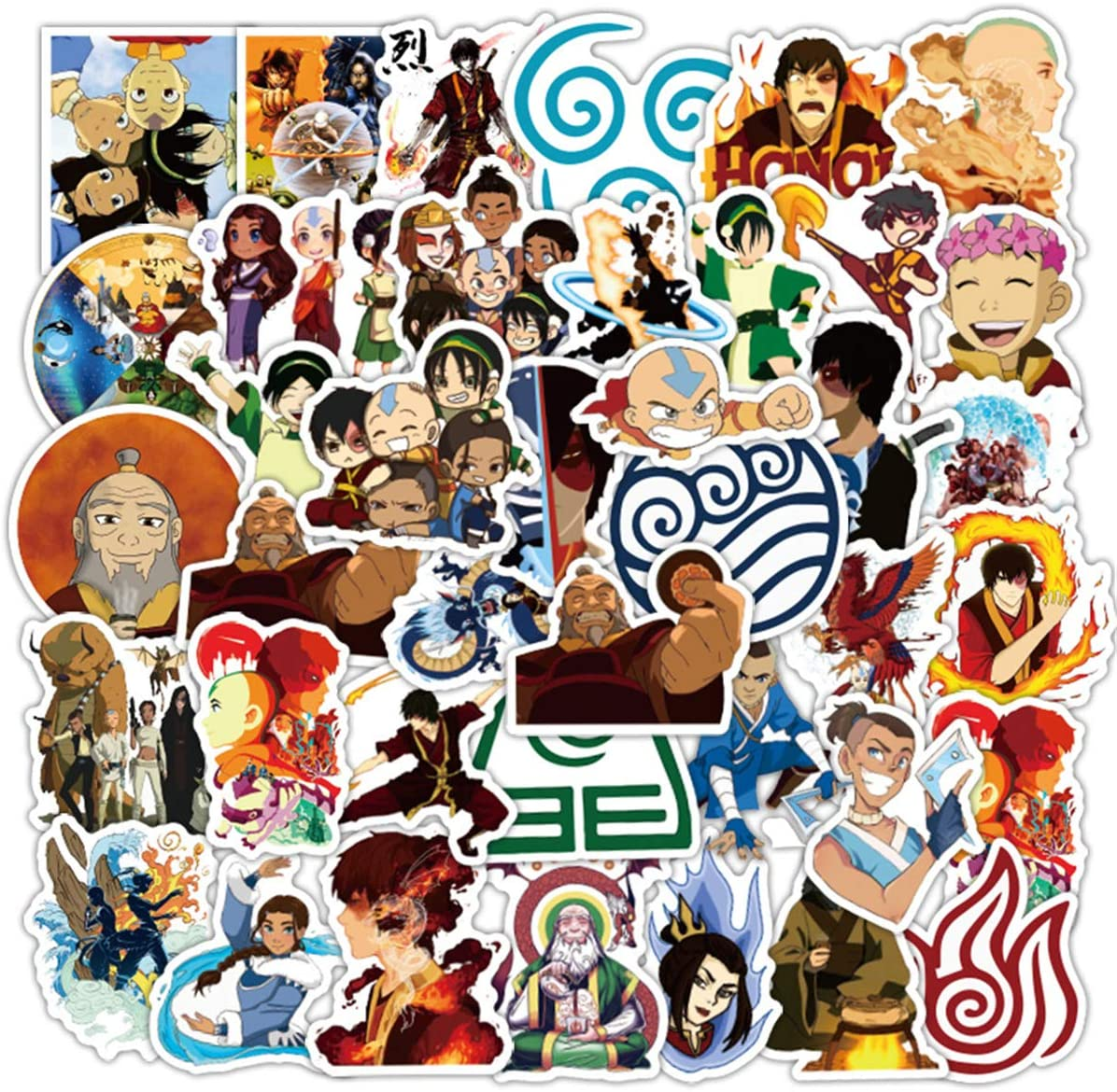 The Avatar Stickers/Decals (50 pcs) for Laptop Skateboard Snowboard Water Bottle Phone Car Bicycle Luggage Guitar Computer as Gift(Avatar)