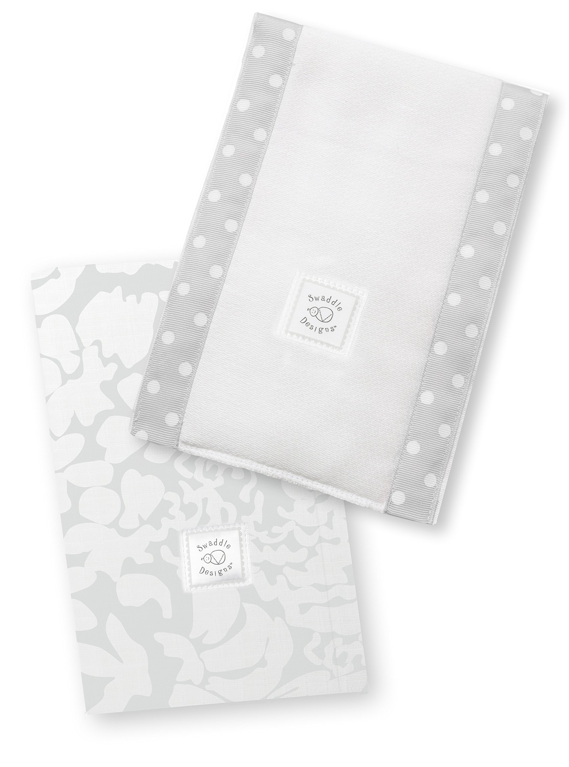 SwaddleDesigns Baby Burpies, Set of 2 Cotton Burp Cloths, Sterling Lush