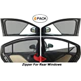Autofact Half Magnetic Window Sunshades/Curtains Honda Amaze (2018/2019) [Set of 4pc - Front 2pc Half Without Zipper ; Rear 2pc Full with Zipper] (Black)
