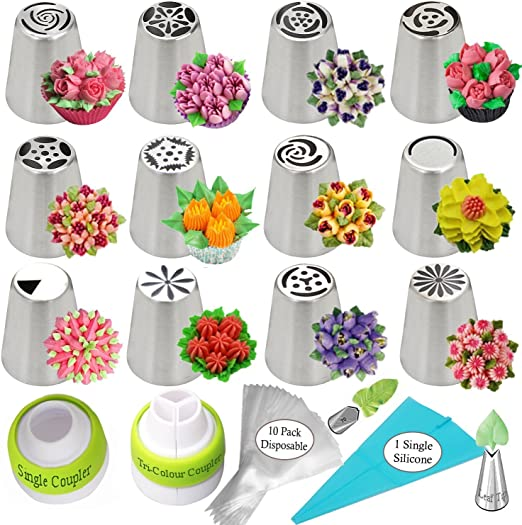 PROFESSIONAL Russian Piping Tips Set COMPLETE With LEAF tip Buttercream RECIPE /& How-To VIDEOS 24-Pieces For Cake and Cupcake Icing Decorating BONUS Cake Tip EASY Cleaning Stainless Steel