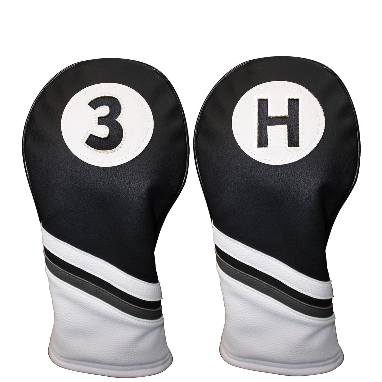 ゴルフヘッドカバー3ブラックとホワイトレザースタイル3 & Hフェアウェイウッドとハイブリッドヘッドカバー   B01C4WMXME