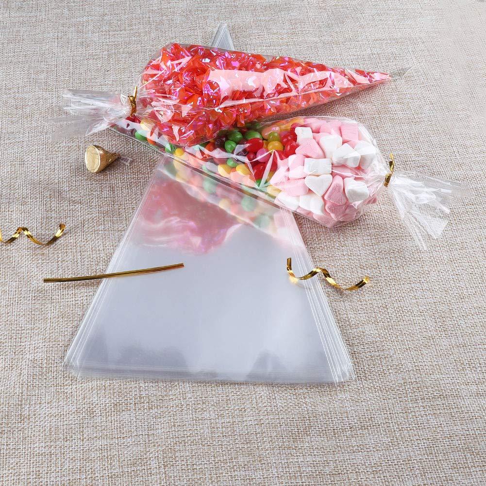 Bolsas de Cono Transparentes 100 piezas Bolsas de Celofán con lazos para dulces galletas regalos fiestas cumpleaños 19×38 cm