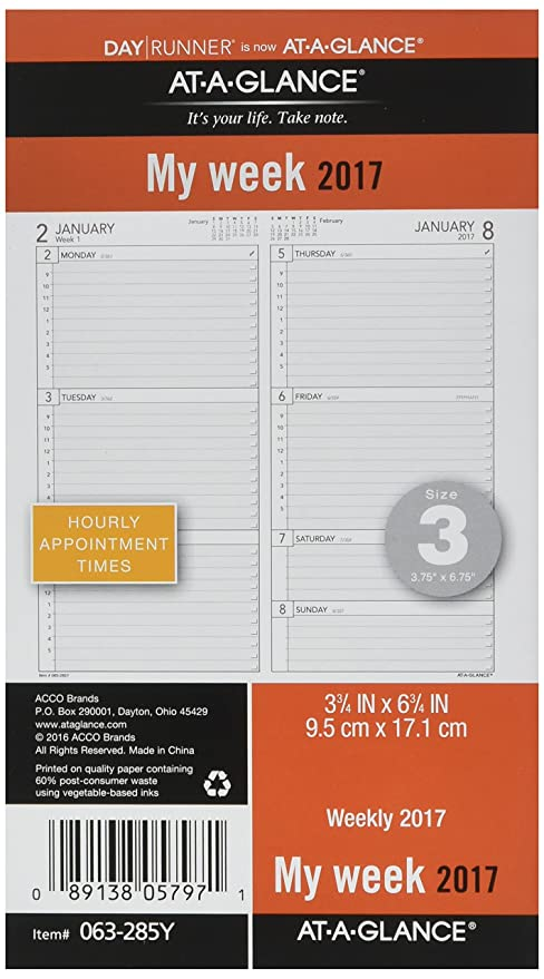 Day Runner Weekly Planner Refill 2017, 3-3/4 x 6-3/4