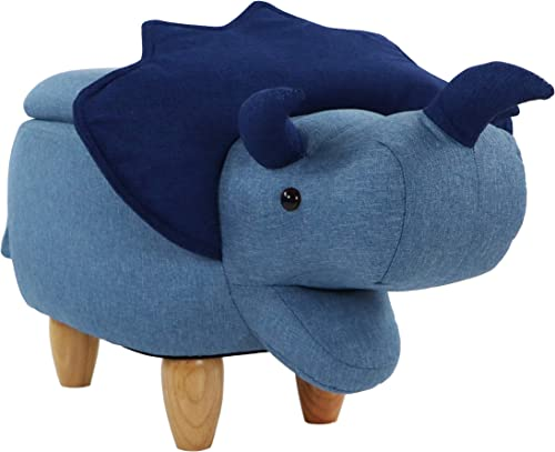 Critter Sitters Blue 15-in. Seat Height Triceratops Dino Shape Storage Ottoman