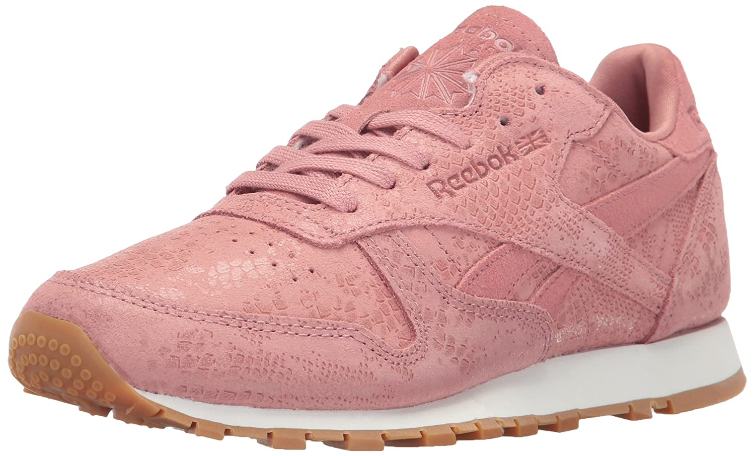 Reebok Women's CL Lthr Clean Exotic Print Track Shoe B01NBU632N 7 B(M) US|Sandy Rose/Chalk/Gum
