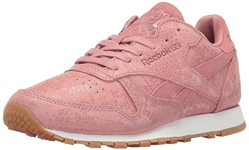 Reebok Women's CL LTHR Clean Exotic Print Track Shoe