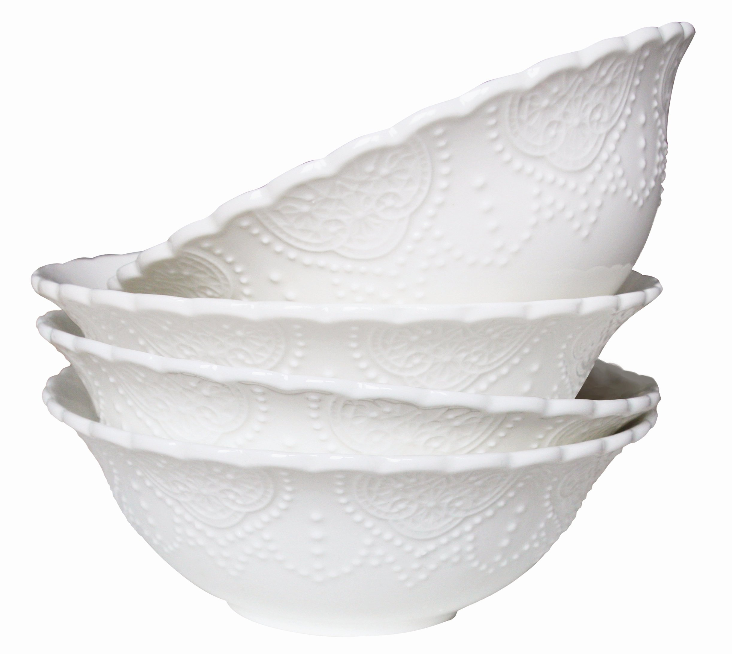 Cereal Soup Bowls Set 4 New Bone China, Scalloped Embossed Pattern, 15 Ounce Each, White