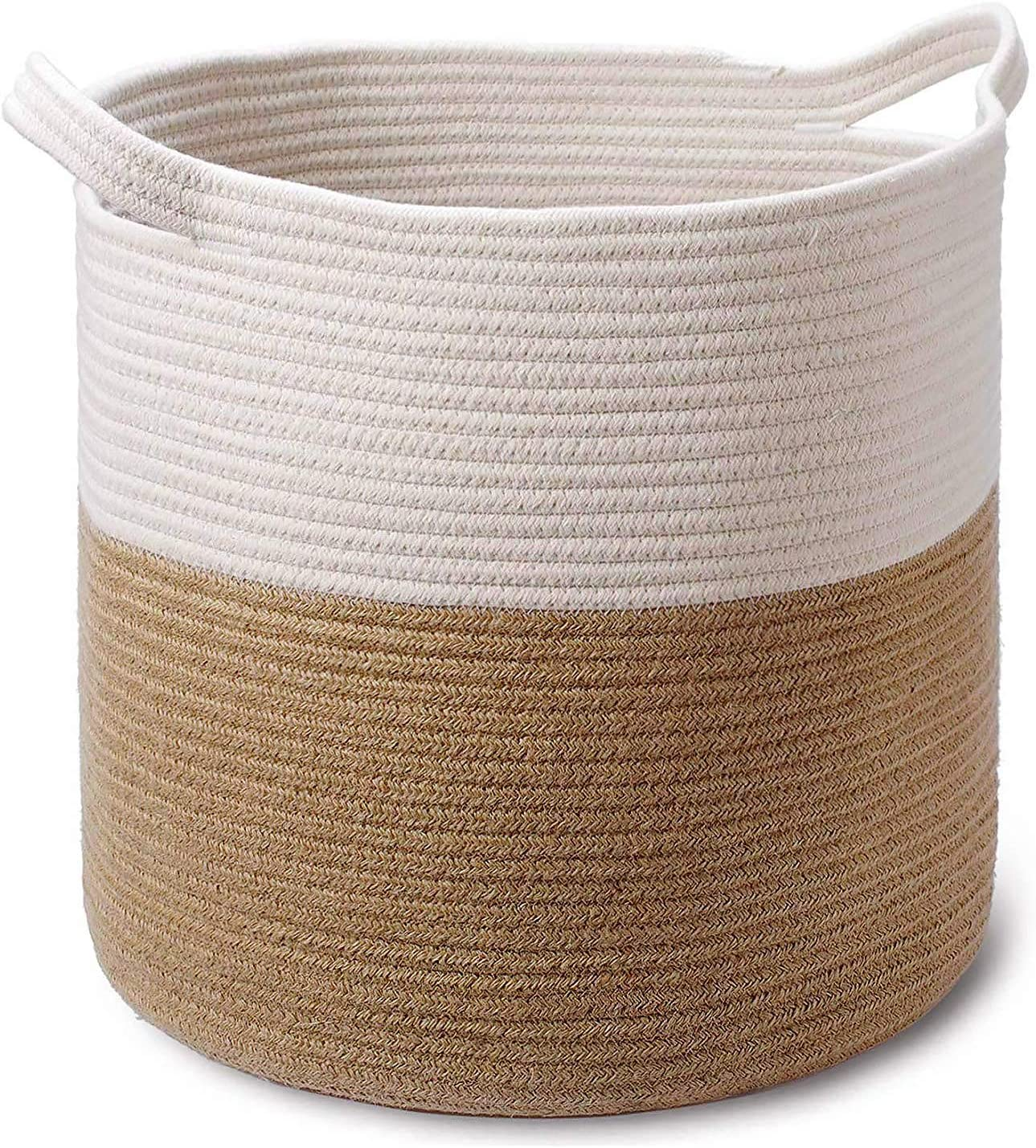 Large Jute Cotton Coiled Rope Basket - 15 x 15 x 16 Inch - Decorative Woven Storage Basket Laundry Hamper for Sofa Throws, Pillows, Toys, Clothes, Towels, Shoes