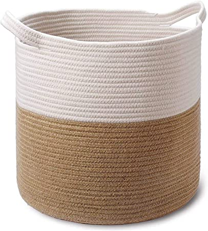 Small Toys Blankets Clothes Decorative Coiled Rope Belly Basket Woven Basket for Indoor Plants White /& Jute Storage Basket for Home Organization