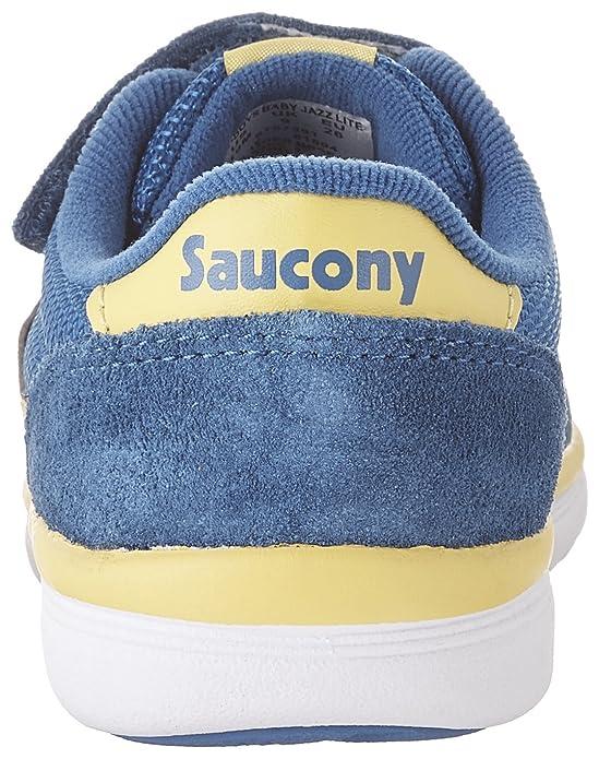 SAUCONY - Basket Baby Jazz bleue et jaune en nylon et suède, avec fermeture en velcro, lacets élastiques, garçon, garçons-21