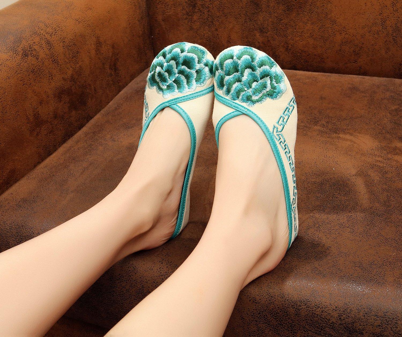 Gestickte Schuhe, Sehnensohle, ethnischer Stil, weiblicher Flip Flop, Mode, bequem, Sandalen  41|green