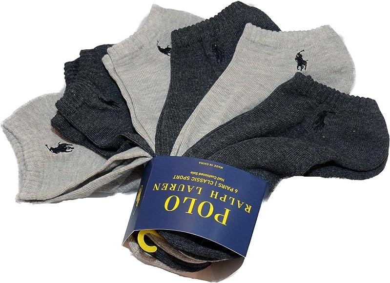 Polo Mens Pony Logo Classic Sport No-Show Socks 6 Pack by Ralph Lauren