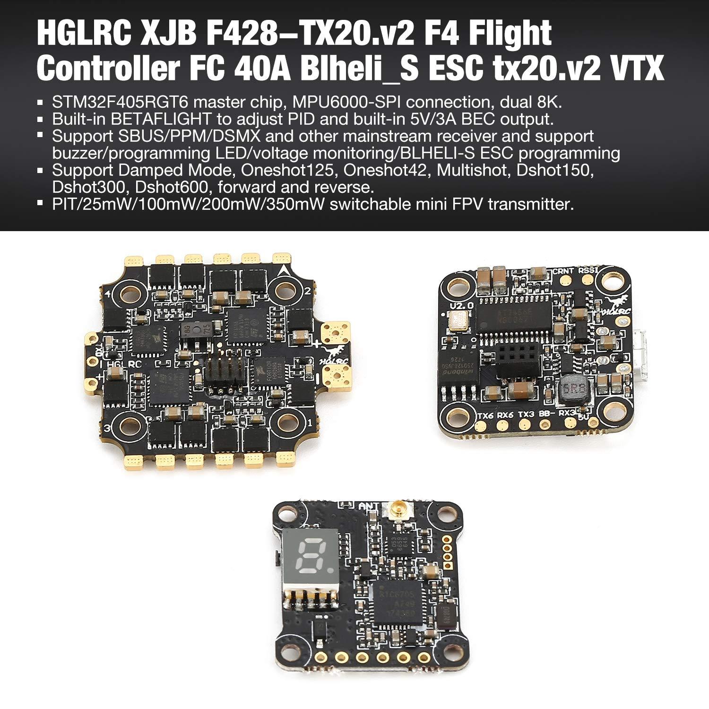 FairytaleMM HGLRC XJB F440-TX20.v2 F4 Controlador de Vuelo FC 40A Blheli_S ESC tx20.v2 VTX