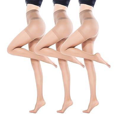 439a3ba86a7 Women s Sheer Pantyhose 3 Pack 15 Denier Thin Shaping Tights at ...