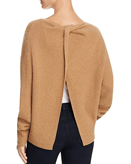 2b4b3fcc3bc Theory Women's Twylina Split Back Cashmere Sweater Heather Butterscotch  Size Medium: Amazon.in: Clothing & Accessories