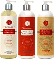 Spa Destinations TRIO 16 ounce - Argan & Acai Body Wash, Argan & Acai Body Lotion and Argan & Acai Smooth & Sunless Gradual