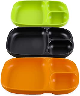 product image for Re-Play Set of 3 - Made in The USA Deep Divided Heavy Duty Dining Plates with 3 Compartments for All Ages -  Black, Orange, Lime Green (Halloween)