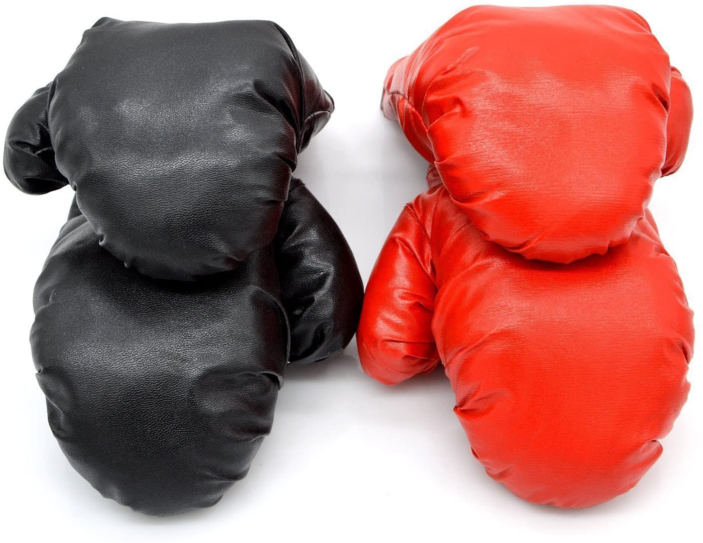 micnaron 2ペア大人用ボクシンググローブ、パンチ手袋、プロフェッショナル耐衝撃レザースパーリング、トレーニンググローブセットPunching Bag Mitts for Men/Women (ブラック+レッド(2ペア))
