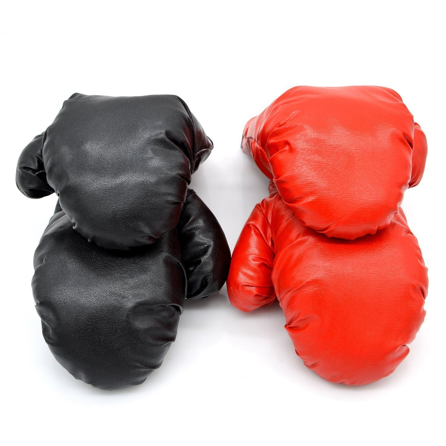 Micnaron 2 Pair Adult Boxing Gloves, Punching Gloves, Professional Shockproof Leather Sparring,Training Glove Set Punching Bag Mitts for Men/Women(Black+Red(2 Pair))