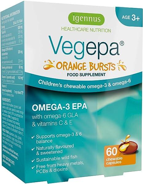 Vegepa Orange Bursts, Aceite de Pescado Omega-3 EPA y Omega-6 GLA para niños, sin azúcar, sabor natural a naranja, 60 cápsulas masticables: Amazon.es: Salud y cuidado personal