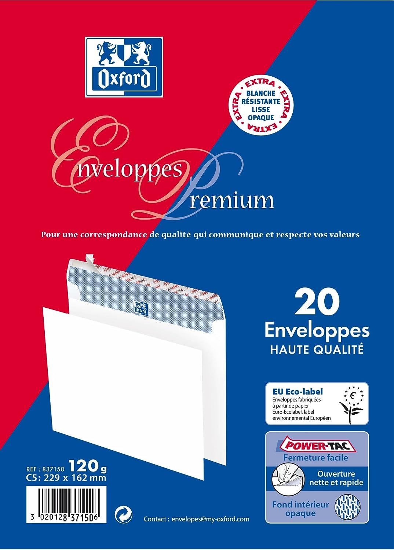 Oxford Correspondance Premium Enveloppes Pack de 20 Blanc
