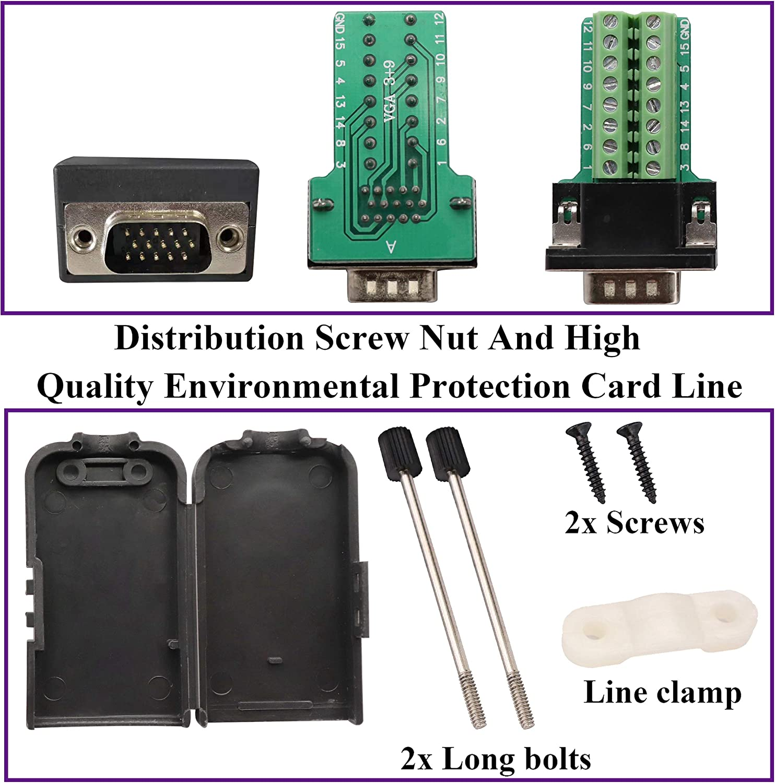 3-reihig 2 St/ück m/ännlich serielle Anschlussklemme AAOTOKK VGA-Schraubklemmenblock-Adapter D-SUB 15-polig Signalmodul mit Geh/äuse DB15 VGA-Stecker auf 16-polige Buchse