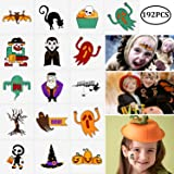 192PCS Assorted Halloween Temporary Tattoos Party Favors - Goody Bags Fillers Kids Trick Or Treat - Pumpkin/Skull/Ghost/Monster Supplies